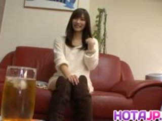 Chika Eiro In Long Boots Sucks Dildo And Gets Doggy Style