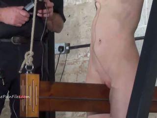 Extreme electro bdsm and wooden device bondage