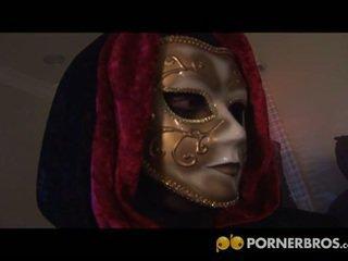 Masquerade couple having hardcore sex