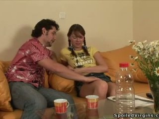 Young darling is pleasuring two coarse...
