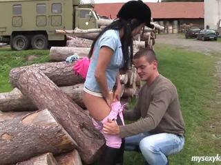 ইউরোপীয় মেয়ে বালিকা angelica gets nailed outdoors