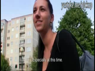 Brunette earns big bucks with public blowjob and doggystyle