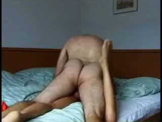Hairy dude passionately makes out with his fresh skinny chick perky ass Video