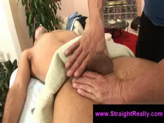 Homo gives sleeping guy a Blow Job on massage table