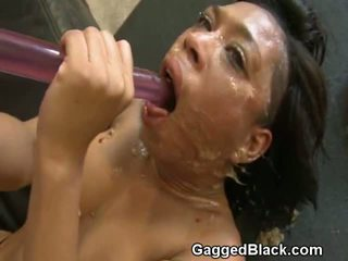 gagging, ebony, deep throat