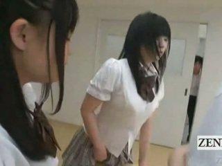 Subtitled nhật bản schoolgirls trong thongs mông judging