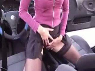 masturbatie, auto, kousen