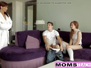 Roodharige mam en tiener dochter krijgen ondeugend met lul.