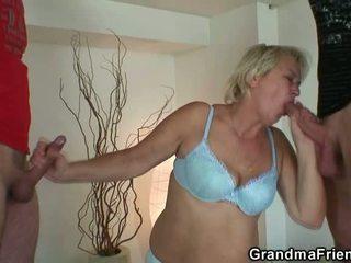 Blonde Grandmother Gulps Pair Pocket R...