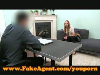 FakeAgent Blonde amateur fucks in casting