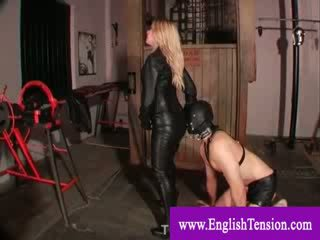 Domina enslave weak man as her pet and makes him cum on her leather skirt