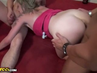 Birthday girl fucked by two