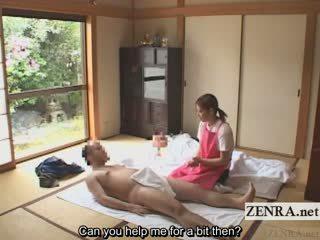 Subtitled femme habillée homme nu japonais caregiver elderly homme branlette