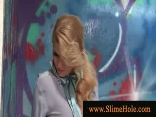 Cum loving blonde wet from toy cock slime