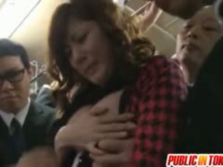 Yuma asami strokes penises in vol bus