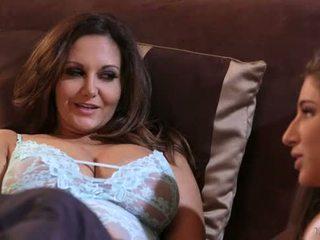 bruneta, líbání, pussy lízání
