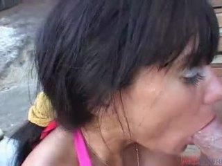 brunette, pijpen, blow job