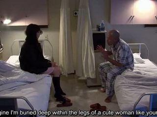 Subtitled uncensored bizarre hospital Japanese handjob