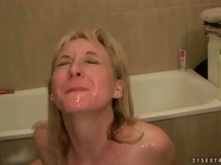Two guys fucking and pissing on granny