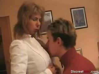Hot German Mom Teaches Boy