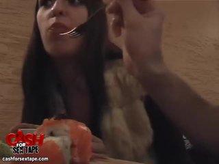 Chick sucks cock in a sushi bar restro...