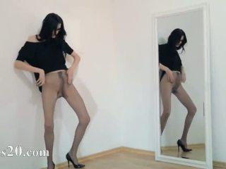 Glamorous 18yo girl teasing in front of mirorr
