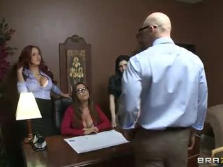 brunette, group sex, red head, pussy fucking, big tits, office