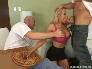 Housewife having sex with 2 pizza delivery guys