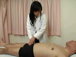 Horny jap nurse gives hj