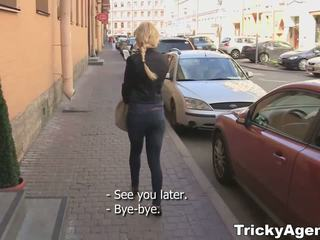 Tricky agent - modest blondy turns to be really starving for