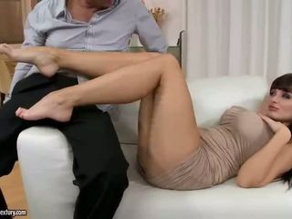 Aletta Ocean giving footjob and riding cock