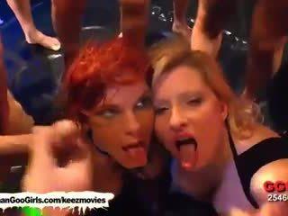 Busty chicks in one bukkake orgy