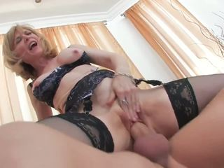 Playful mature blondie is full of energy.