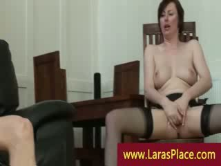 Mature lady in stocking and heels eats Pussy and gets nailed