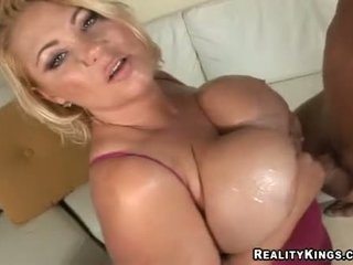Samantha 38g Wanks Jock With Her Huge Oiled Up Juggs