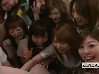 Subtitled mujer vestida hombre desnudo pov japonesa escolar grupo pene jugar