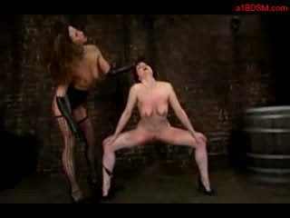 Gyzyl saçly gyz tortured with stick getting tied fucked from behind with strap on whipped by dominatrixtrixtrixtrix
