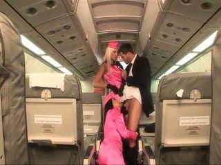Two ন্যাষ্টি stewardesses double teams একটি বাড়া