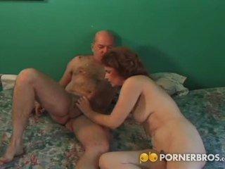 Hairy pussy granny fucked from behind