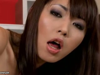 brunette, spuitende, japanse