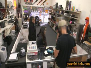 Couple girls try to steal and gets fuck by horny pawn man