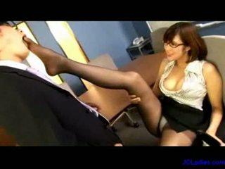 Office lady sucking guy cock fingering herself guy jerking o