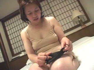 brünett, jaapani, masturbating