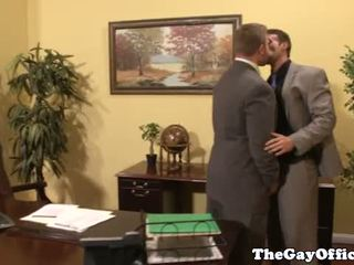 Gay office stud giving head to boss