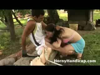 Mesum handicap gets sucked and fucks a mesum babeh outdoors
