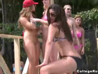 Naughty college teens pool party with good fucking