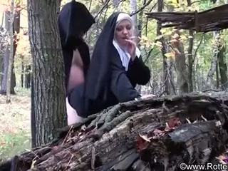 smoking, nun, nuns