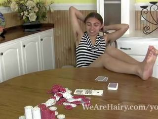 Sunny Strips Naked at Her Kitchen Table