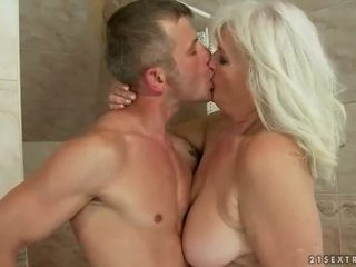 Naughty ugly grandma fucking a younger man
