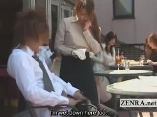 Subtitled japans publiek cafe erection wiping serveerster